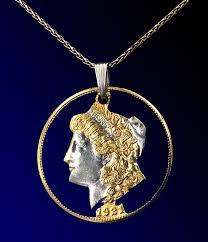 gold morgan dollar coin pendant