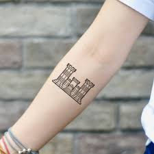 Army Engineer Castle Military Temporary Tattoo Sticker Army Engineer Castle