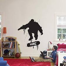 Amazon Com Fsds Wall Vinyl Decal Personalized Skater Skateboard Boys Name Stickers Nursery Kids Room Home Living Room Decals Sticker Home Kitchen