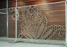 Turning Chain Link Fencing Into Art Lace Fences By Demakersvan Fence Art Fence Design Dutch Design