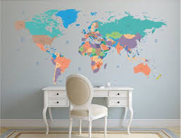 World Map Decal Political World Map Wall Decal Wall Sticker Removable World Map Decor Map Wall Decal World Map Decal