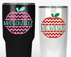 Amazon Com Custom Apple Teacher Name Decal Sticker For Yeti Tumbler Your Choice Of Size Name And Colors Handmade