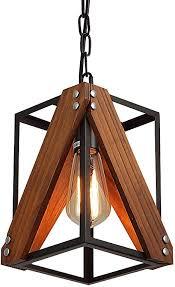 rustic industrial wood pendant light