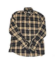 brown plaid long sleeve on front