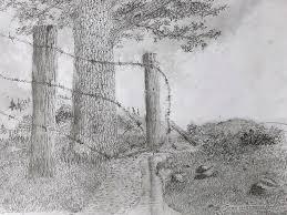 Broken Fence Drawing By Jim Hubbard
