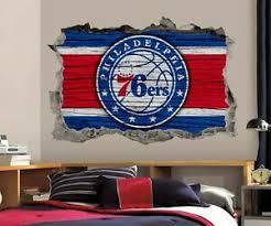 Philadelphia 76ers Wall Art Decal 3d Smashed Basketball Nba Wall Decor Wl202 Ebay