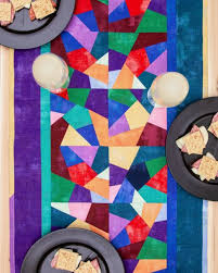crazy quilt stained glass table runner