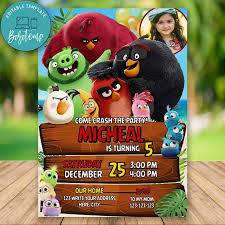 Editable Angry Birds Movie Birthday Invitation With Photo DIY ...