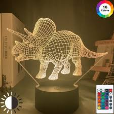 Hot Deal D0e3d Baby Night Light Dinosaur Triceratops For Kids Bedroom Decor Nightlight Cool Birthday Gift 3d Illusion Acrylic Battery Desk Lamp Cicig Co