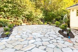 cleaning bird droppings on a stone patio