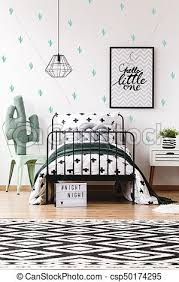 Kids Room With Geometric Carpet Toy Shape In Cactus On Chair Next To Bed In Scandinavian Style Kids Room With Geometric