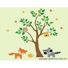 Nursery Wall Decals Forest Nursery Decals Woodland Animal Wall Stickers Cute Animal Wall Decals Owl Decal Racoon Decal Fox Decal