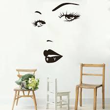 Eyes Wall Sticker Vinyl Decal Beauty Salon Woman Face Lips Girl Room Artistic Design Wall Decal High Quality Wallpaper Sa283 Wall Decals Girls Roomroom Design Aliexpress