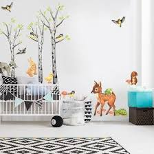 Our Birch Tree Forest Animal Watercolor Wall Decal Bundle Sets Up Your Little One With A Serious W With Images Woodland Nursery Theme Watercolor Animals Watercolor Walls