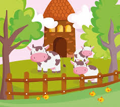 Premium Vector Cows Behind Wooden Fence And Barn Farm Animals