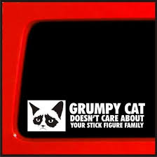 Grumpy Cat Sticker Doesn T Care About Your Stick Figure Family Funny D Stickerconnection