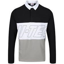 yuki black rugby shirt hi tec sportswear