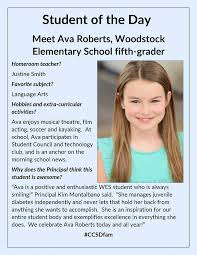 Congratulations Ava Roberts! We are so... - Woodstock Elementary School |  Facebook