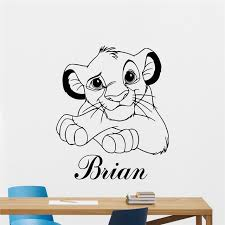 Simba Cartoon Wall Stickers Lion King Vinyl Decal Custom Names Kids Room Decoration Lovly Simba Wall Murals Af050 Wall Stickers Aliexpress