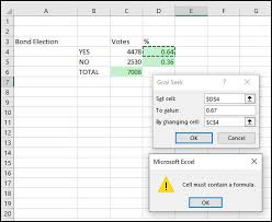 use excel goal seek feature to find