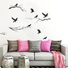 Vinyl Black Crows And Winter Branches Wall Decals Halloween Decoration Crows Wall Sticker Waterproof Halloween Decals Hq227 Wall Stickers Aliexpress