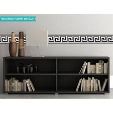 Greek Key Wall Border Fabric Wall Decal Black And White Set Of Two 25 X 6 6 Sections Reusable Repositionable Walmart Com Walmart Com