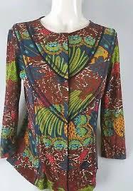 tropical design cardigan blouse sz m