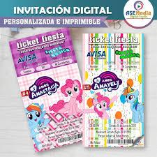 Mi Pequeno Pony Personalizado Invitaciones De Cumpleanos Fiesta