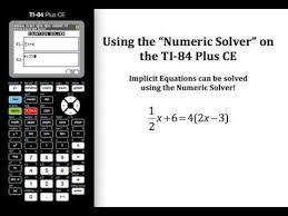 numeric solver on the ti 84 plus ce