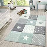 Amazon Com Modern Short Pile Children S Rug Star Design Children S Room Star Pattern Grey White Size 3 11 Round Home Kitchen