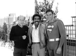 Director Richard Lester with Richard Pryor and Christopher Reeve on the set  of SUPERMAN III : Moviesinthemaking