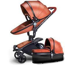 springbuds luxury leather baby stroller