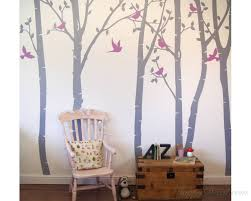 Birch Tree Wall Decal White Birch Wall Decal With Leaves For Bedroom Office Vinyl Leaves