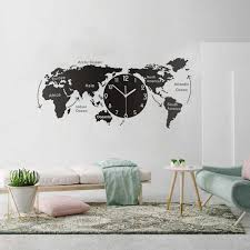 Unique Wall Clock Wall Stickers Creative World Map Wall Decal Clock For Office Home Living Room Wall Art Home Vinyl Wl683 Wall Stickers Aliexpress
