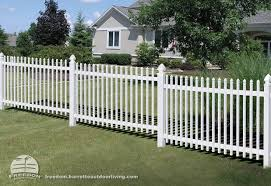 Sloped Yard Stepped Picket Fencing Can Accommodate A Grade And Looks Good Doing It Low Maintenance Vinyl Freedom Fencing Bu Sloped Yard Building A Fence Yard