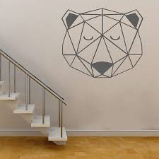 Head Bear Geometric Vinyl Wall Art Decal