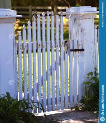 Light Shines Through Picket Fence Gate Stock Photo Image Of Exterior Fence 182721510