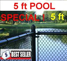 5 Ft Black Chain Link Pool Safety Fence Complete Includes 1 1 4 X 11 Ga Mesh 1 3 8 Top Rail 1 5 8 Line Posts Every 10 Ft And Hardware