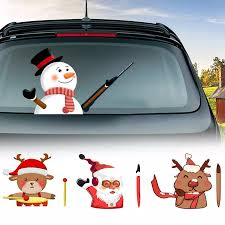 Car Rear Window Sticker Windshield Wiper Decal Tags Christmas Rear Wiper Stickers Cute Santa Claus Waving Removable Car Stickers Aliexpress