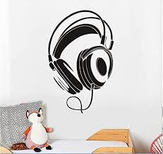 Amazon Com Wall Sticker Headphones Earphones Musical Decal Art Vinyl Decor Removable Pvc Decoration For Bedroom Music Room Studio Home Kitchen