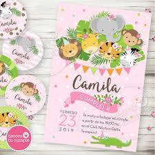 Kit Imprimible Animales De La Jungla Selva Invitaciones 430 00