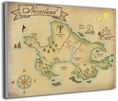 Amazon Com Lp Art Canvas Print Wall Art Map Of Neverland Picture Painting For Kids Baby Bedroom Modern Home Decor Ready To Hang Stretched And Framed Artwork 16 X20 Posters Prints