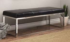 stainless steel modern leather bench