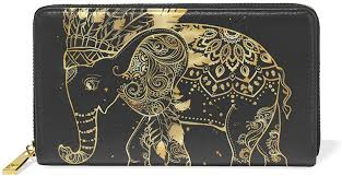 golden feather elephant leather wallet