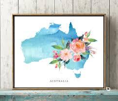 Australia Wall Art Australia Watercolor Map Australia Map Etsy