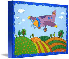 Cartoon Plane Landscape Kids Room Art By Nopi Pantelidou