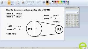 calculate driven pulley dia or rpm