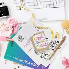 Premium Printable Vinyl Sticker Paper For Your Inkjet Printer 15 Glossy White Waterproof Decal Paper Sheets Dries Quickly And Holds Ink Beautifully Office Supplies Labels Stickers