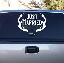 Just Married Antlers Wedding Gift Just Married Vinyl Decor Wall Decal Customvinyldecor Com
