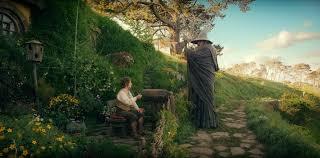 Gandalf and Bilbo at Bag End.